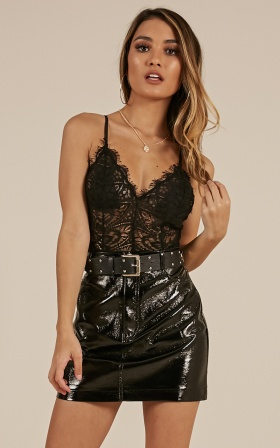 Fall Again bodysuit in black lace