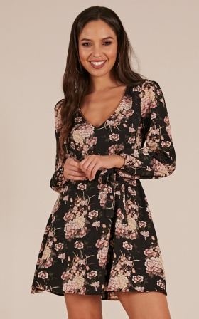 Here On Out Dress In Black Floral