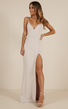 Dare To Dream Maxi Dress in Stone