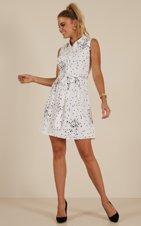 Somewhere Down The Line dress in White Polkadot