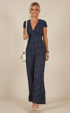 Locked Heart Jumpsuit in Navy Polkadot