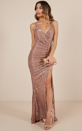Special Moments dress in gold sequin