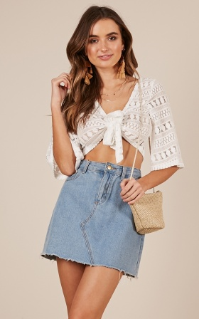 Beat the Game crop top in white lace
