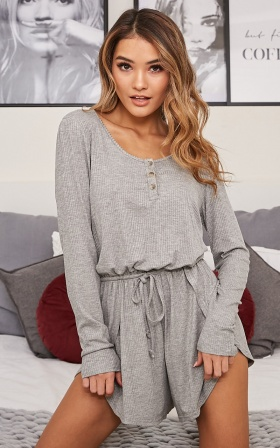 Set For Anything romper in grey marle