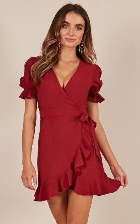Piece Of Your Heart dress in wine