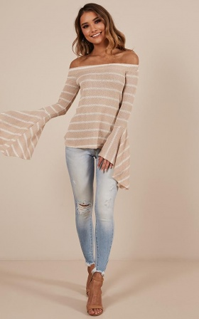 Triggered top in beige stripe