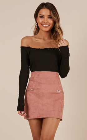 Way Ahead Skirt In Blush Suedette