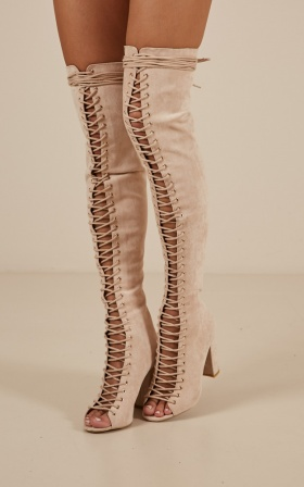 Billini - Bardot boots in blush micro