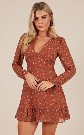 How Deep Is Your Love dress in rust floral