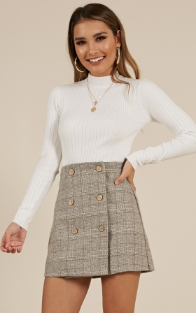 Thoughts Of You skirt in grey check