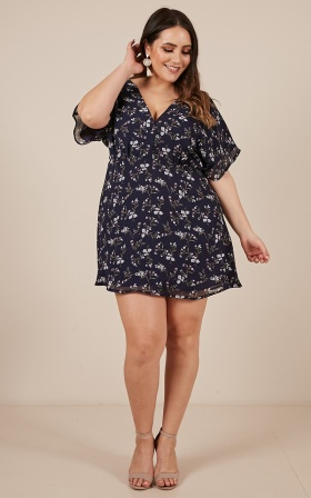 All Smiles Dress In Navy Floral