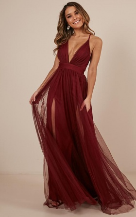Celebrate tonight maxi dress in wine