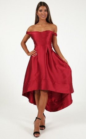 Quiet Storm Dress In Wine Satin