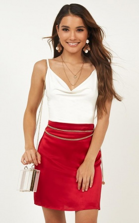 Long Trip Skirt In Red Satin