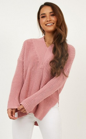 With Conviction Knit In Dusty Pink