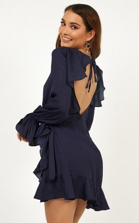 Hold It Together Dress In Navy Satin