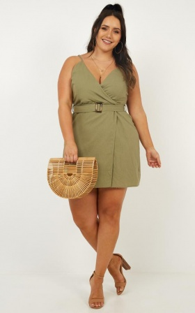 In A Rush Wrap Dress In Khaki Linen Look