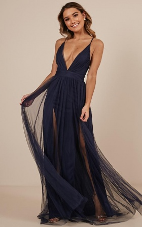 Celebrate Tonight Maxi Dress In Navy