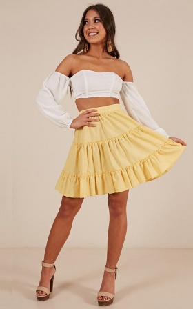 Faded Love Skirt In Lemon Linen