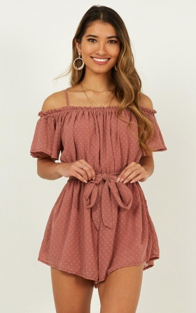 A Trick of Light Playsuit In Dusty Rose