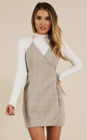 Calling You Dress in grey check
