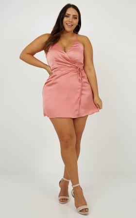 All Things Nice Dress In Rose Satin