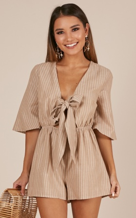 Another Moment Playsuit in beige stripe Linen Look