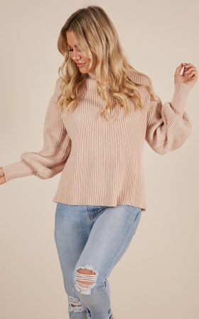 Back And Forth knit sweater in nude