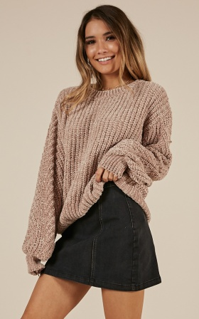 Bad At Surprises Velvet Knit Sweater In Beige
