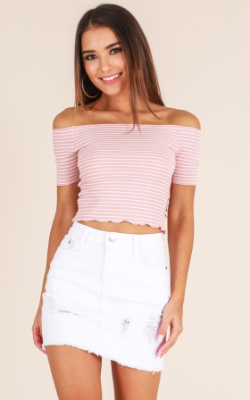 One For You crop top in blush stripe