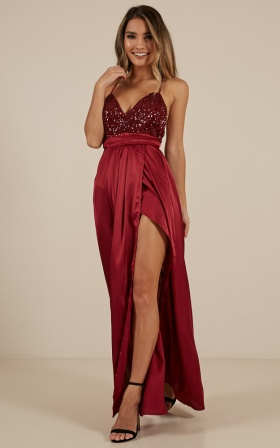 Carmen Maxi Dress In Wine