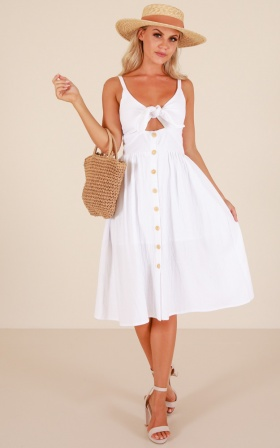 Cascading Petal dress in white