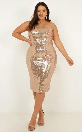 feb944bb697 ... Classy Lady Dress In Rose Gold Sequin ...