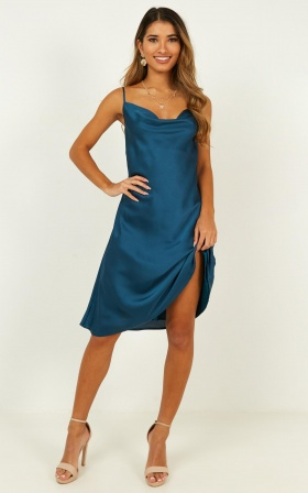 Colour Me Pretty Dress In Teal