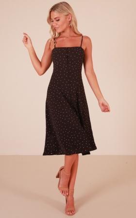 Come A Little Closer midi dress in black polkadot