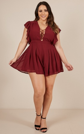 Dance With Me All night playsuit in wine