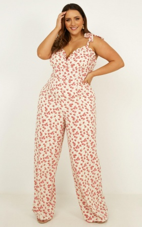 Days Drifting Jumpsuit In White Floral