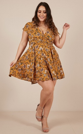 Deep Wide Ocean Dress In Mustard Floral