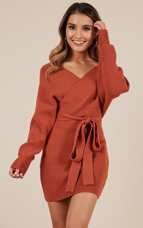 Dont Fall Down Knit Dress In Rust