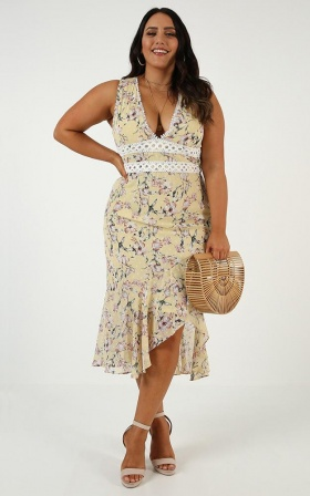 Down the Garden Dress In Lemon Floral