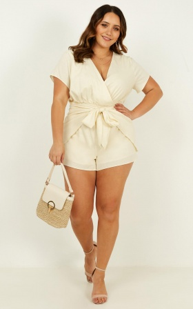 Only In Time Playsuit In Beige