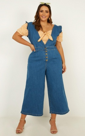 Enough To Love Denim Jumpsuit In Mid Wash