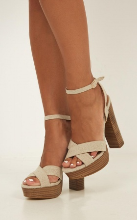 Billini - Eva Heels In Natural Linen Look