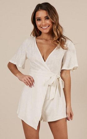 Friend Zone Playsuit White Linen Look
