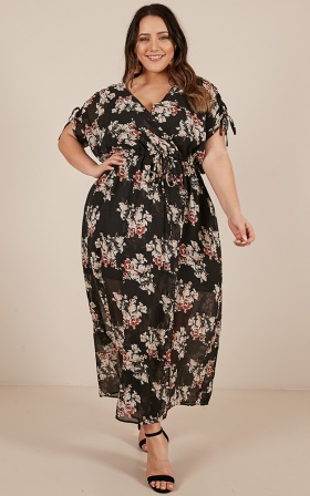 Golden Ones Maxi Dress in Black Floral