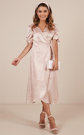 Golden Rule Dress In Blush Spot Satin
