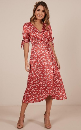 Golden Rule Dress in red floral satin
