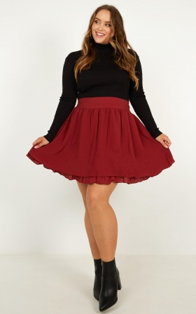 Heart Ache Skirt In Wine