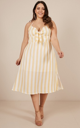 Hey There Dress in mustard stripe