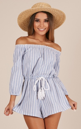 Hidden Heart playsuit in blue stripe Linen Look